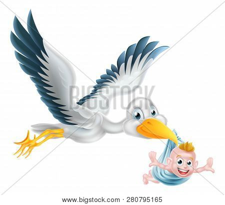 A Happy Cartoon Stork Bird Animal Character Flying Through The Air Holding A Newborn Baby. Classic M