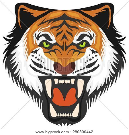 Tiger, Tiger Head With Open Mouth And Teeth. Cartoon Illustration Of A Tiger. Vector.