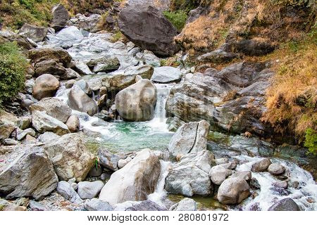 Flowing Stream Through Green Mossy Rocks  In Forest, Moss On Rocks Forest River Flowing Through  The