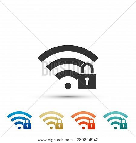 Wifi Locked Sign Icon Isolated On White Background. Password Wi-fi Symbol. Wireless Network Icon. Wi