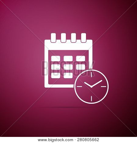 Calendar And Clock Icon Isolated On Purple Background.schedule, Appointment, Organizer, Timesheet, T