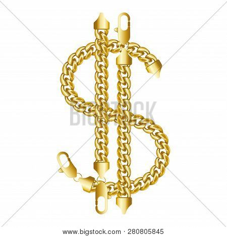 Gold American Dollar Money Sign Made Of Shiny Thick Golden Chain. Realistic Vector Illustration Isol