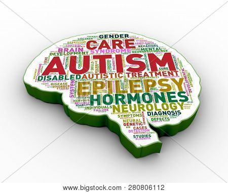 3d Rendering Of Brain Shape Tags Word Cloud Tags Of Autism Awareness