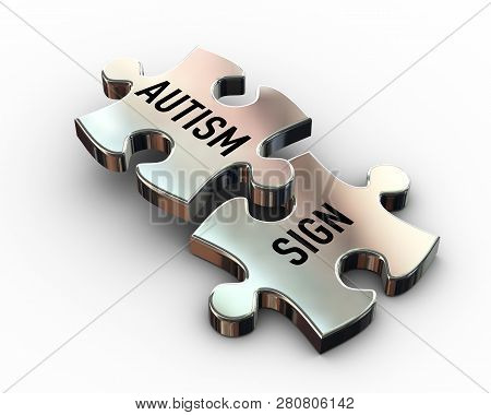 3d Rendering Of Puzzle Pieces Having Word Text Autism And Sign