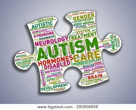 Illustration Of Custom Brain Shape Word Cloud Tags Of Autism Awareness