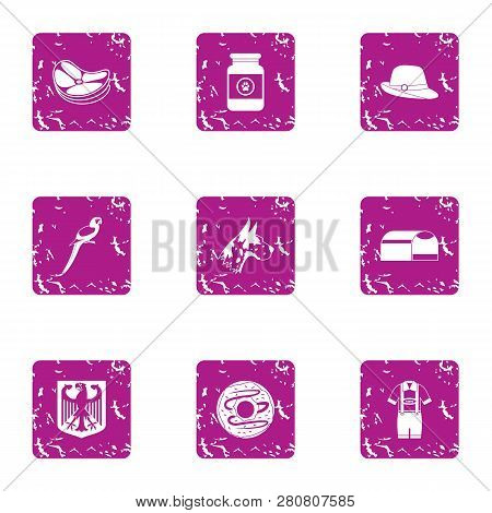 Rural Life Icons Set. Grunge Set Of 9 Rural Life Icons For Web Isolated On White Background