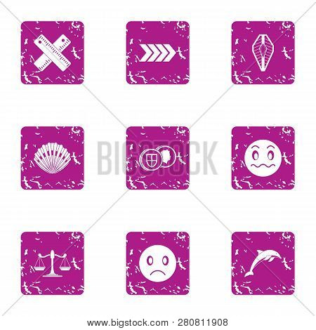 Bad Action Icons Set. Grunge Set Of 9 Bad Action Icons For Web Isolated On White Background