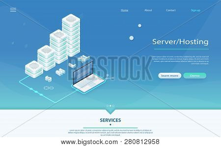 3d Servers And Data Center Connection Network. Big Data Flow Processing Concept, Cloud Database, Iso
