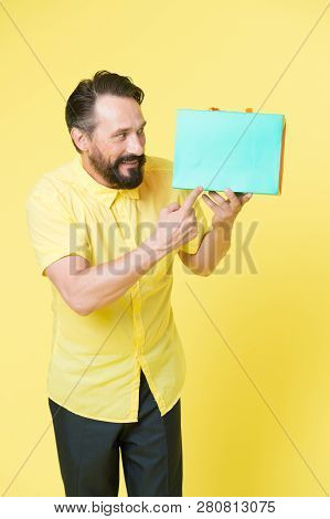 After Shopping. Copy Space. Big Sale In Shopping Mall. Bearded Man With Shopping Bags. Happy Holiday