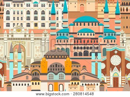 Istanbul City Colorful Vector Seamless Pattern. Famous Istanbul Building. Mosque And Turkey Landmark