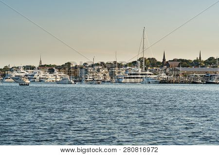 Boats Moored In The Bay Of Newport, Rhode Island