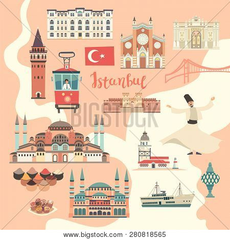 Palace, Istanbul Landmarks. Cartoon Style Vector Illustration, Isolated On White Istanbul City Color