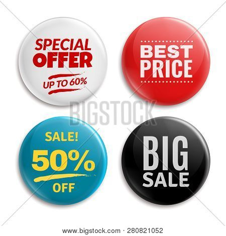 Sales Pin Badges. Circled Badging Button, 3d Glossy Price Tag. Big Sale, Best Price And Special Offe