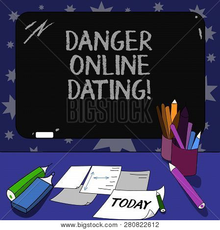 Conceptual Hand Writing Showing Danger Online Dating. Business Photo Text The Risk Of Meeting Or Dat
