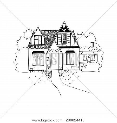 Sketch Of The House Architecture . Free Hand Drawing Vector Illustration. Thumbnail Sketch Of Perspe