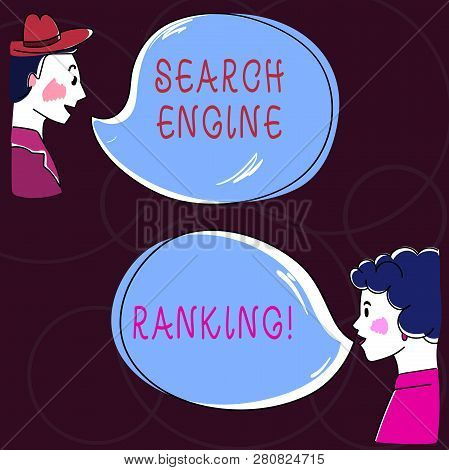 Conceptual Hand Writing Showing Search Engine Ranking. Business Photo Text Rank At Which Site Appear