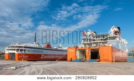 Piraeus, Greece - May 7, 2018: Large Car-ferries Docked In Seaport Near Athens. Panoramic View Of Th