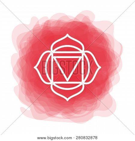 Muladhara Icon. The First Root Chakra. Vector Red Smoky Circle. Line Symbol. Sacral Sign. Meditation