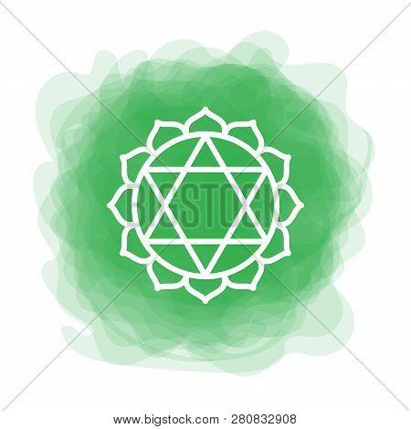 Anahata Icon. The Fourth Heart Chakra. Vector Green Smoky Circle. Line Symbol. Sacral Sign. Meditati