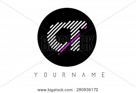 Ct Letter Logo Design With White Lines And Black Circle Vector Illustration