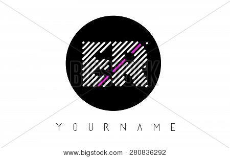 Er Letter Logo Design With White Lines And Black Circle Vector Illustration