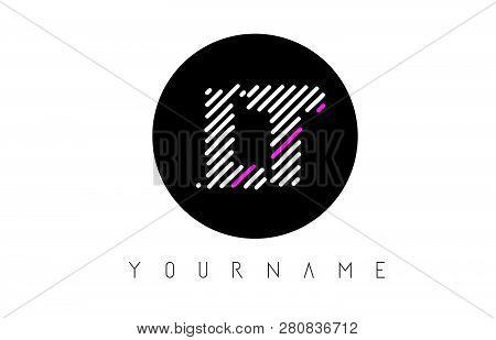 Lt Letter Logo Design With White Lines And Black Circle Vector Illustration
