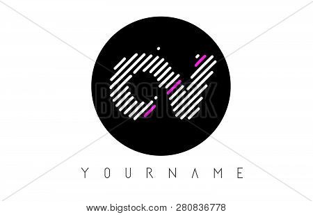 Ov Letter Logo Design With White Lines And Black Circle Vector Illustration