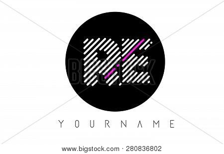 Re Letter Logo Design With White Lines And Black Circle Vector Illustration