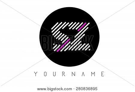 Sz Letter Logo Design With White Lines And Black Circle Vector Illustration