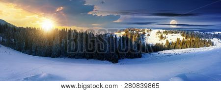 Panorama Of Day And Night Time Change Above Winter Landscape. Spruce Forest On A Snow Covered Hills.