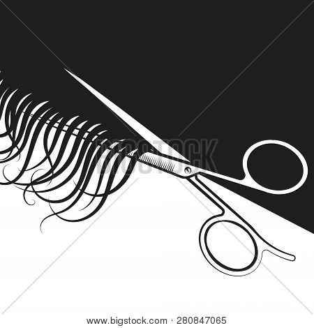 Scissors And Curls Of Hair Silhouette For A Beauty Salon
