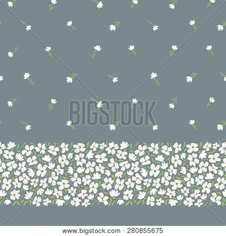 Classic abstract gestural ditsy floral vector seamless horizontal border and pattern. Simplistic small scale hand drawn white blooms on grey background. Retro stylized flowers and leaves edge texture poster