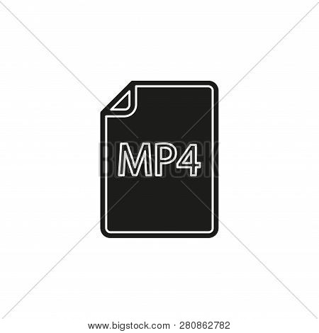 Download Mp4 Document Icon - Vector File Format Symbol. Flat Pictogram - Simple Icon