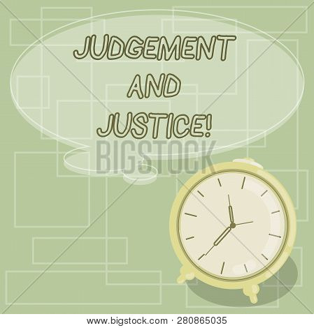 Text Sign Showing Judgement And Justice. Conceptual Photo System Of Laws In A Country That Judges Sh