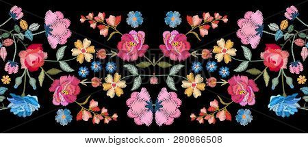 Colorful Seamless Embroidery Border With Beautiful Flowers. Floral Embroidered Pattern On Black Back
