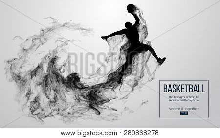 Abstract Silhouette Of A Basketball Player On White Background From Particles, Dust, Smoke, Steam. B