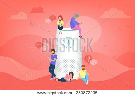 Smart Speaker With Virtual Assistant Vector Illustration Of People Standing Near Speaker Symbol Usin