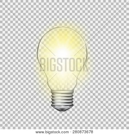 Realistic Vector Transparent Light Bulb. Light Effect Illustration.