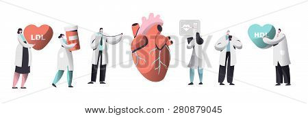 Doctor Diagnose Heart For Cholesterol Presence Set. Chemical Laboratory Data Science Character Colle