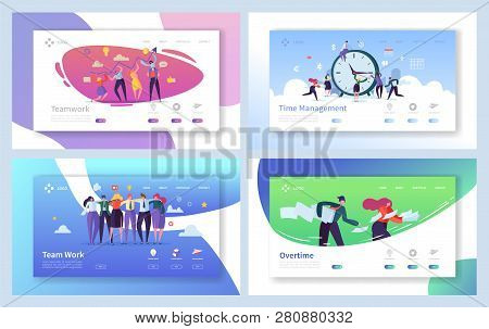 Business People Teamwork Landing Page Set. Creative Corporate Team Collaboration Work For Innovation