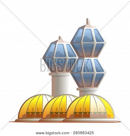 Illustration Station Greenhouse For Growing Plants. Vector Building Technical Support For Life Colon