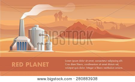 Illustration Technical Station Surface Red Planet. Banner Vector Panorama Mountain Landscape Mars. S