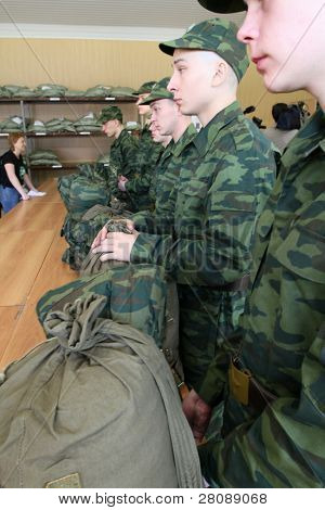 MOSCOW - JUNE 18: Army conscripts receive military uniform, a collection point, June 18, 2010 in Moscow, Russia.