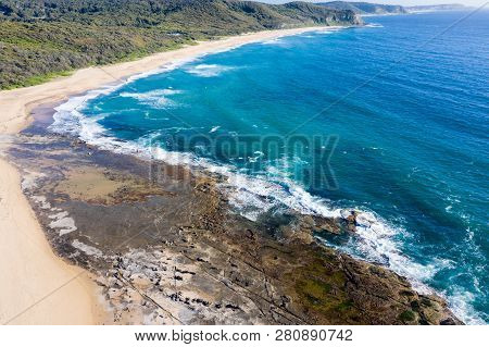 Aerial View Of The Southern End Of Dudley Beach - Newcastle Australia. Dudley Beach Is One Of The  M