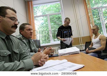 MOSCOW - JUNE 18: Army conscripts during an interview on the results of the tests, a collection point, June 18, 2010 in Moscow, Russia.