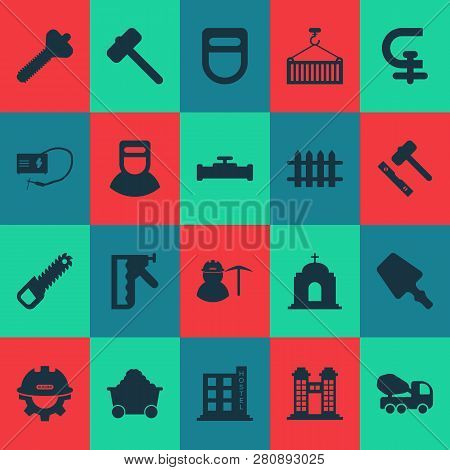Industrial Icons Set With Welder, Loading, Hostel And Other Catholic Elements. Isolated Vector Illus