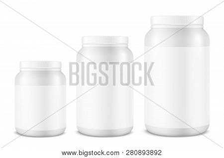Vector Realistic 3d White Plastic Jar, Can With Lid Set Closeup Isolated On White Background. Design
