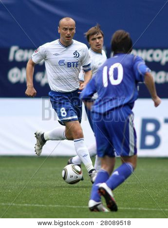 MOSCOW - JULY 3: Dinamo's midfielder Dmitry Hohlov (#8) in the VTB Lev Yashin Cup: FC Dynamo Moscow vs. FC Dynamo Kyiv (2:0), July 3, 2010 in Moscow, Russia.