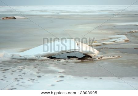 The frozen lake Chudskoe (Peipsi) in the early spring poster