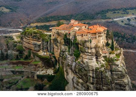 Varlaam Monastery Located On The Huge Rock, Kalabaka, Meteors, Trikala, Thessaly, Greece